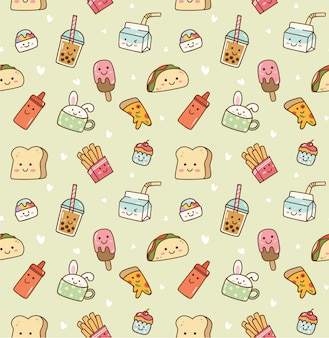 Various food and drink seamless background in kawaii style