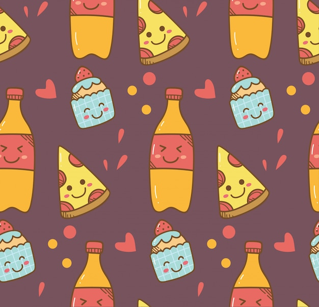 Various food in kawaii style background