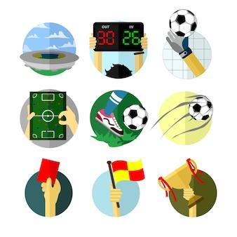 Various football game scenery illustration set