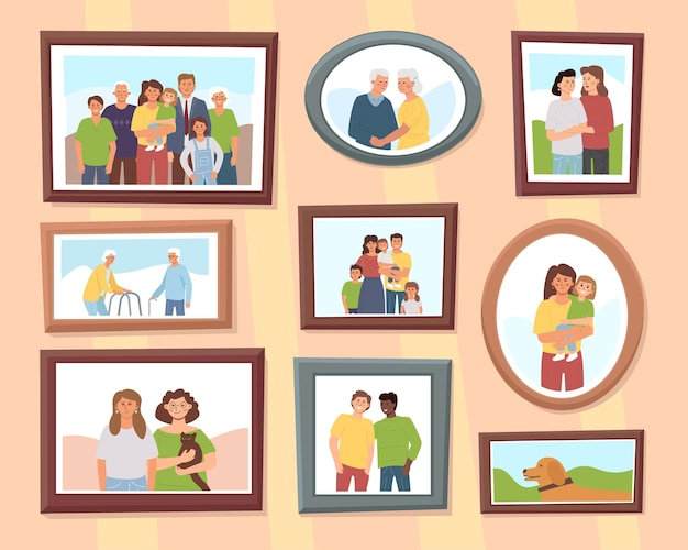 Various framed portraits of family and friends hang on the wall.