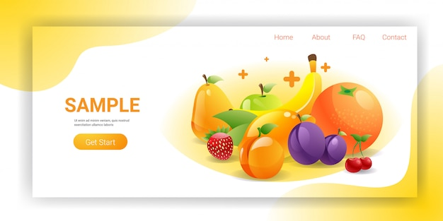 Various fresh juicy fruits composition healthy natural food concept horizontal copy space