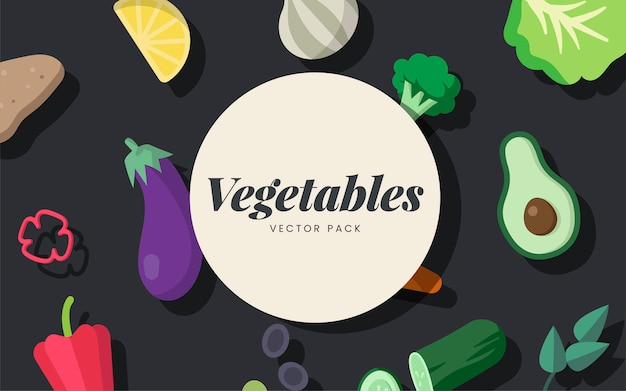 Various fresh organic vegetables vector pack