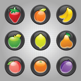 Various fruit buttons illustration set