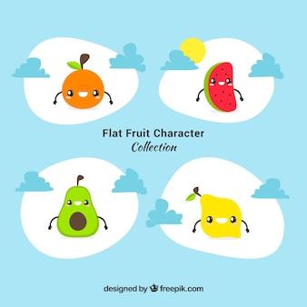 Vari personaggi di frutta con espressioni facciali