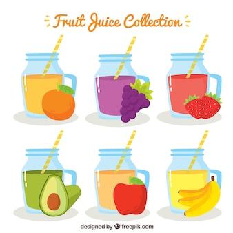 Различные фруктовые соки в рисованном стиле