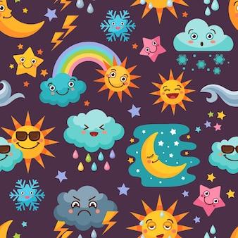 さまざまな面白い天気アイコンが設定されています。太陽と雨の雲、イラストと漫画のシームレスなパターン