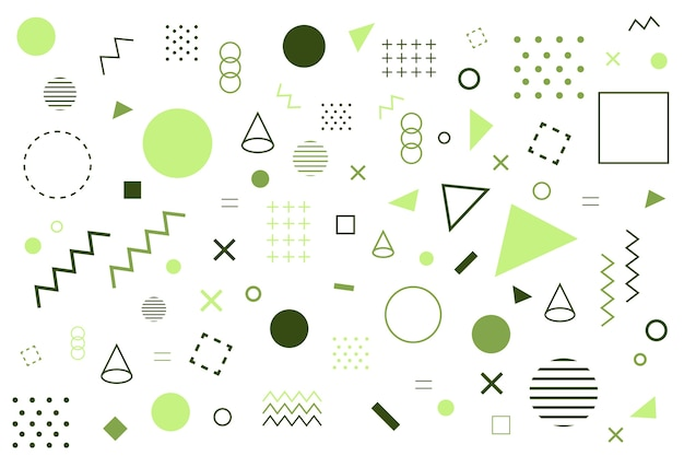 Various geometrical green shapes background