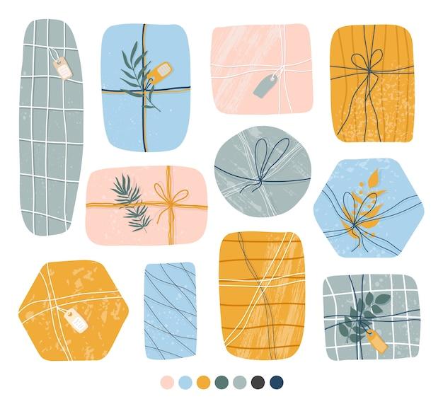 手描きのギフトやプレゼント。クラフト紙、箱、リボン、枝、その他の装飾要素。フラットなデザイン。手描きのトレンディなセット。パステルカラー。