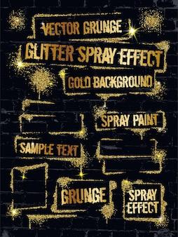 Various glitter spray paint graffiti frame with golden sparkles confetti