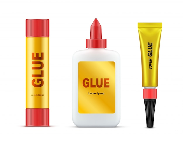 Various glues tubes realistic vector template set