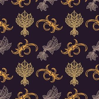 様々な金ブラックワーク彫刻ヴィンテージバロック花飾りイラスト装飾シームレスパターン暗い背景