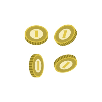 Various golden coins isolated icon
