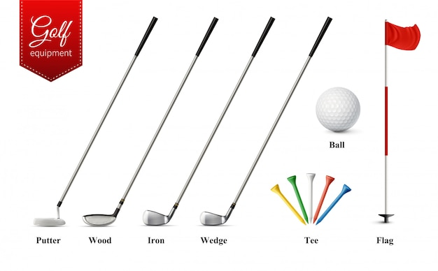 Various golf equipment set with different types of clubs tee ball and flag realistic  isolated vector illustration