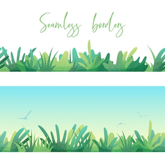 Various grass and leaves on white and sky backgrounds