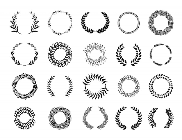 Various greek round branch wreathes set