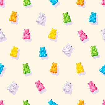 Various gummy and jelly bears colorful fruity and tasty sweets and candies