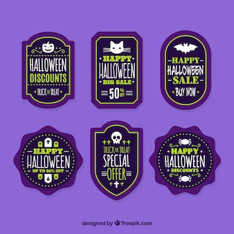 Various halloween discount stickers Free Vector