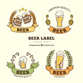 Various hand drawn beer stickers