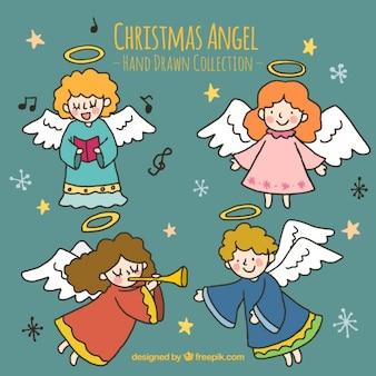 Various hand drawn cheerful angels Free Vector