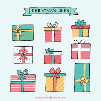 Различные нарисованные от руки рождественские подарки