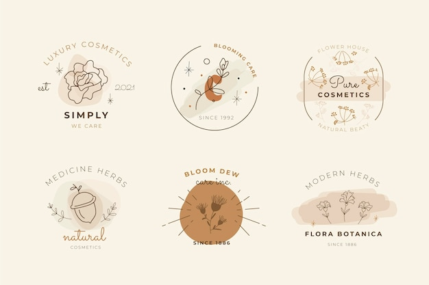Various hand drawn cosmetics logo design