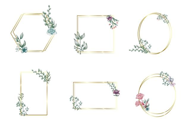 Набор различных рисованной цветочные геометрические рамки