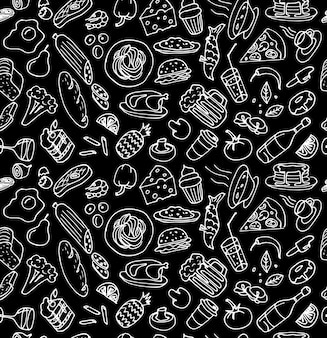 Various hand drawn food cookery dishes doodle outline white chalk sketch seamless pattern on black
