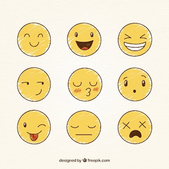 Various hand drawn funny smileys