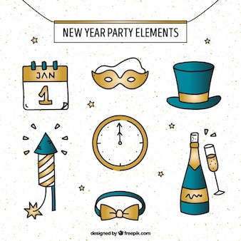 Various hand drawn golden new year elements
