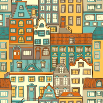 Various hand-drawn houses. bright city pattern.