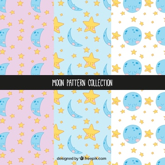 Various hand-drawn patterns with moons and stars