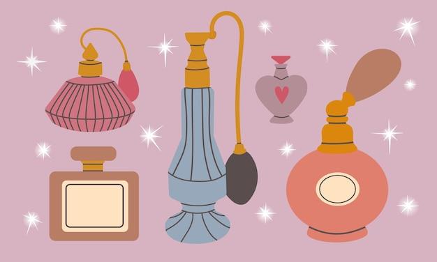 평평한 스타일의 유리병 삽화에 다양한 손으로 그린 향수 제품