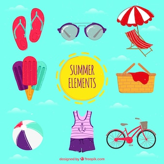 Various hand-drawn summer items