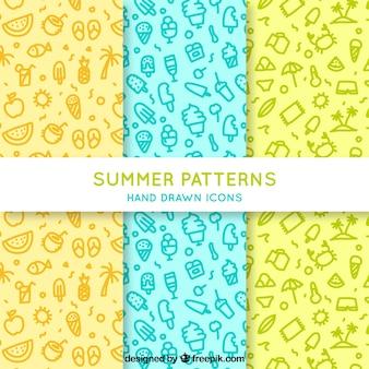 Various hand-drawn summer patterns