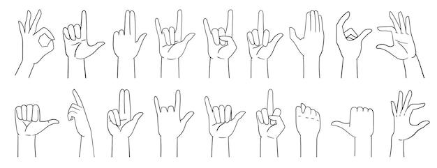 Различные жесты рук, знаки руки, нарисованные рукой с линией. векторные иллюстрации, изолированные на белом.