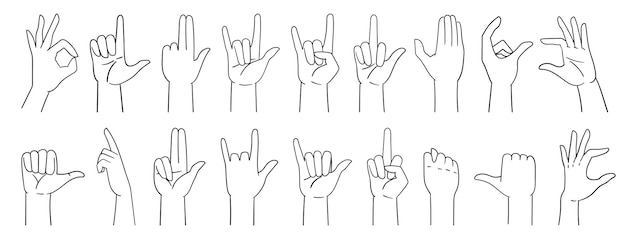 Various hand gestures, hand signs, hand drawn with a line. vector illustration isolated on white.
