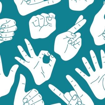Various hand gestures seamless pattern