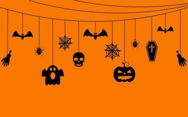 Various hanging halloween ornaments