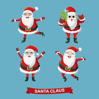 Различные счастливые Санта-Клауса