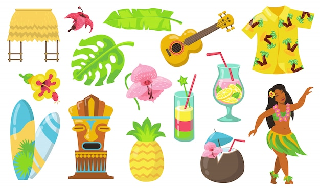 Various hawaii symbols flat icon set
