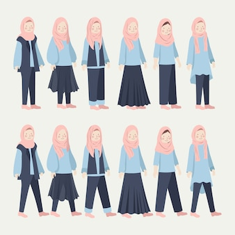 Various hijab girl casual daily outfit illustration set