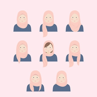 Various hijab girl style in illustration set