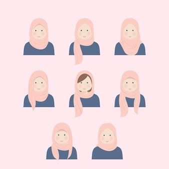 イラストセットの様々なヒジャーブの女の子のスタイル