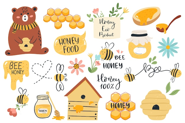 Various honey illustrations