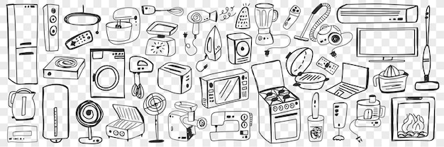 Various household appliance doodle set. collection of hand drawn fan oven vacuum cleaner mixer washing machine microwave refrigerator blender sewing machine for home isolated