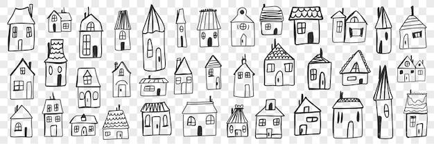 다양한 주택과 건물 낙서 세트