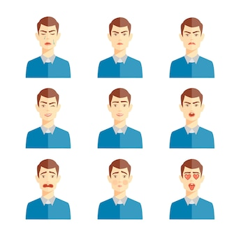 Various human emotions vector illustration, set of cute characters