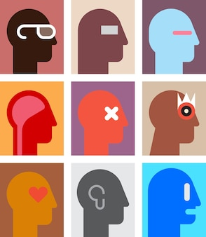 Набор различных человеческих портретов. абстрактный рисунок.
