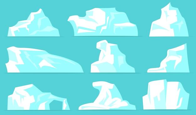 다양한 빙산이 설정됩니다. 창백한 파란색 배경에 고립 된 크리스탈 눈 흰 얼음 산. 북극 풍경, 북극, 남극 자연 개념에 대한 벡터 일러스트 모음