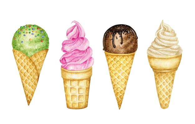 Различные шарики мороженого, украшенные шоколадом в вафельном рожке